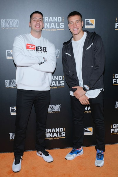 NEW YORK, NY - JULY 28:  Aleksandar Komadina and Bogdan Bogdanovic attend Overwatch League Grand Finals - Day 2  at Barclays Center on July 28, 2018 in New York City.  (Photo by Matthew Eisman/Getty Images for Blizzard Entertainment )