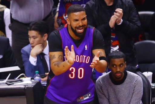 c6644083659 D Bag Of The Day: Drake Shows Up to Game 1 vs. Warriors Wearing ...