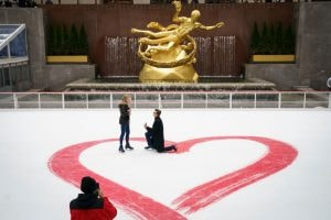 Valentine's Day Marriage Proposal Takes Place At Rockefeller Center Ice Rink