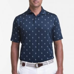whale of a tale men's navy polo